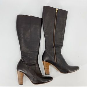 Poppy Barley brown leather heel boots